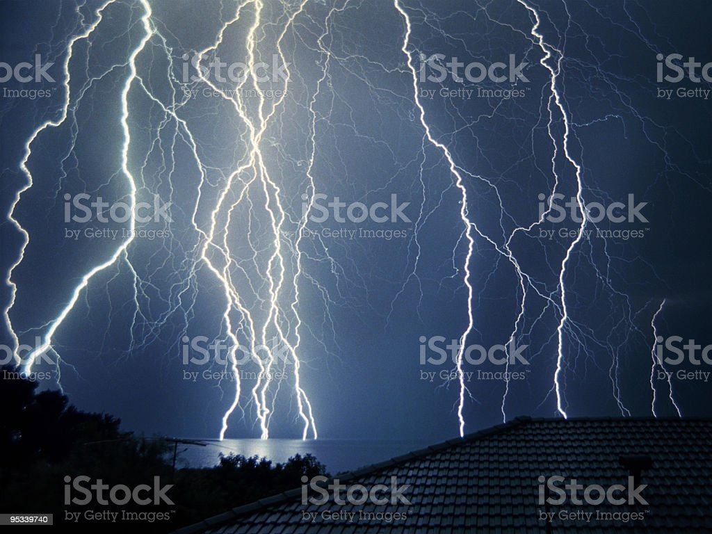 Lightning over Geographe Bay royalty-free stock photo