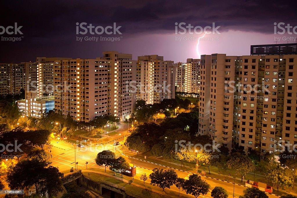 Lightning over Jurong West, Singapore stock photo