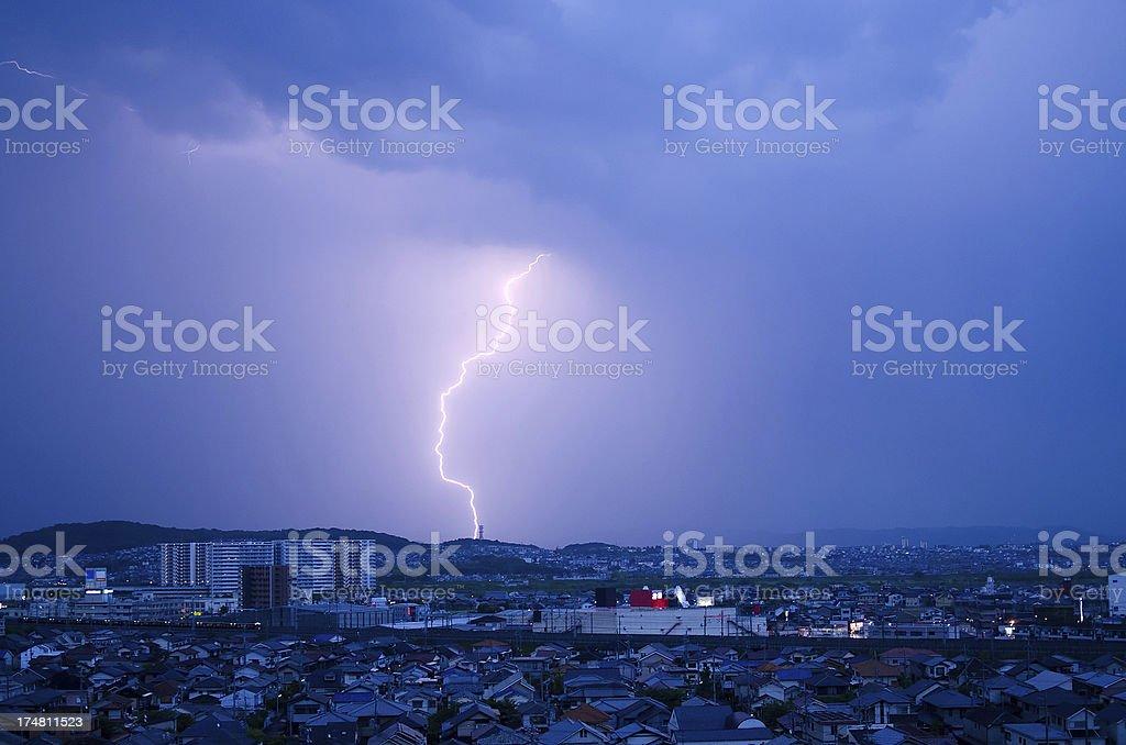 Lightning over Kyoto, Japan royalty-free stock photo