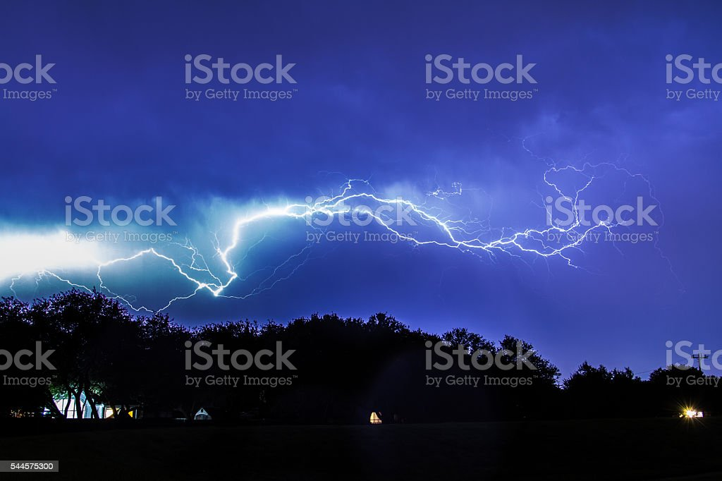 Lightning over Texas stock photo