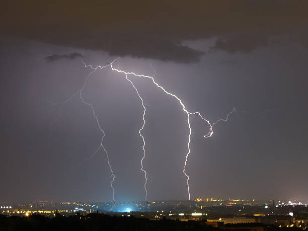 lightning over the city of Budapest stock photo