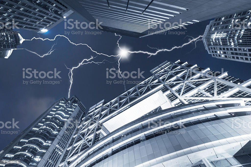 lightning over the Shanghai stock exchange - Photo