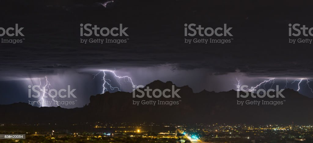 Lightning Panorama stock photo