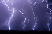 Lightning bolt strike from a storm.