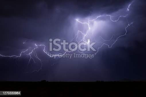 Lightning strike and stormy night sky.
