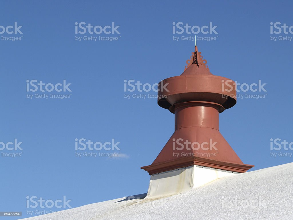 Lightning Rod Vent on Pennsylvania Building Roof stock photo