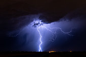 Lightning storm at night over Phoenix, Arizona.