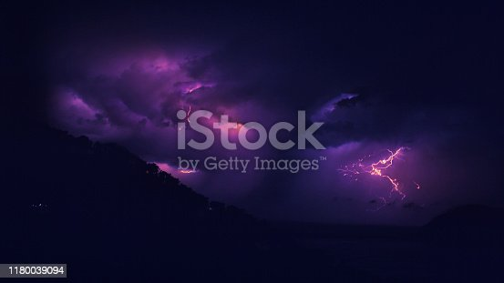 Storm above mountains. Rocky coastline, multi colored