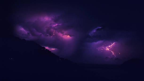 Lightning storm at night. stock photo
