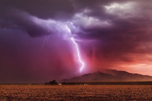 Lightning storm at sunset stock photo