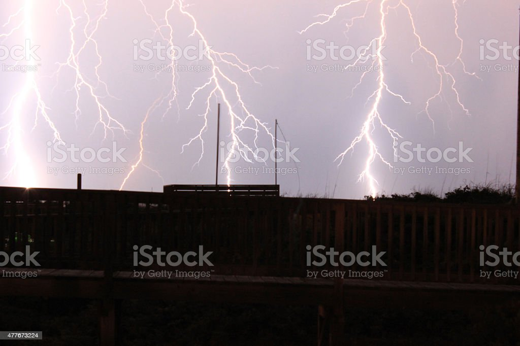 Lightning storm at the beach stock photo