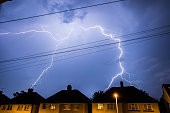 Lightning Storm in the Night Sky Above Residential Houses in Essex, UK.