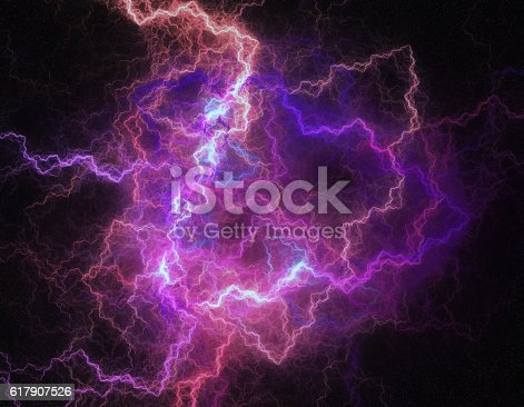 istock Lightning storm like space abstract background. 617907526