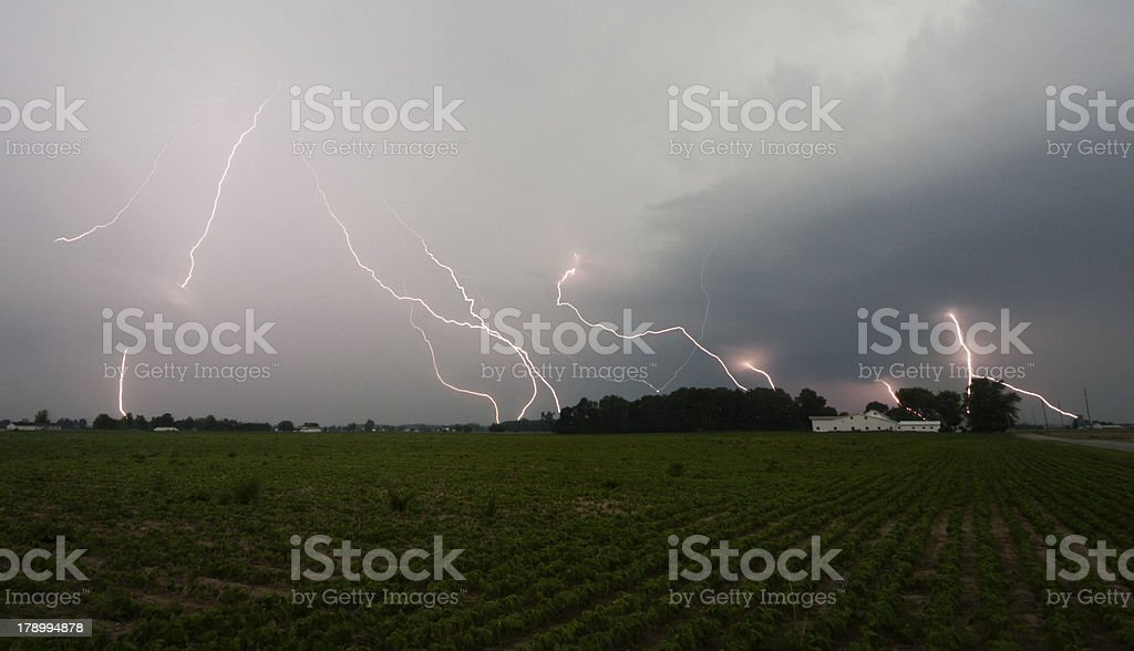 Lightning Storm over a Field royalty-free stock photo