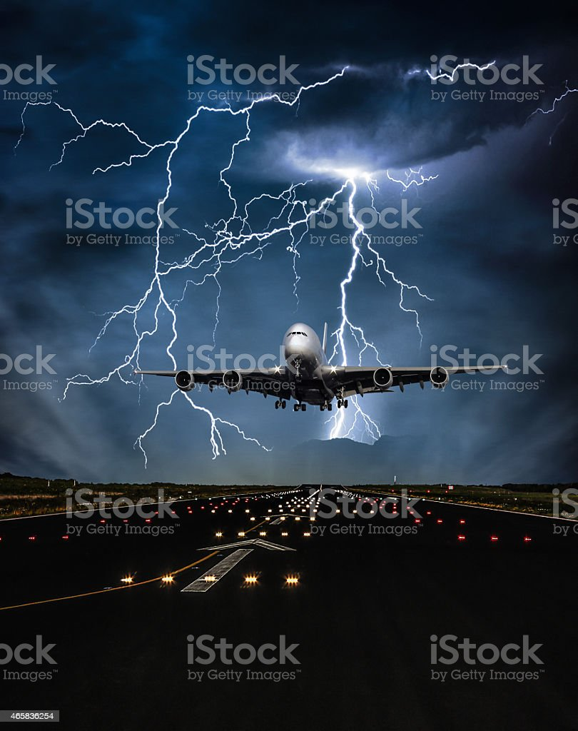 Lightning storm over an airport runway stock photo