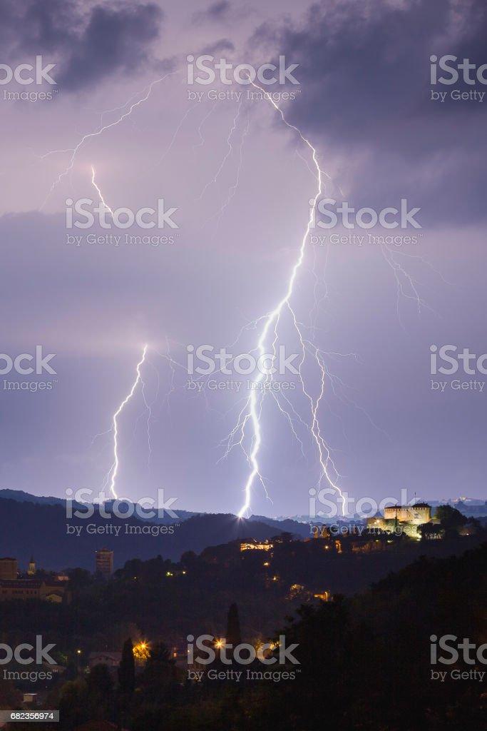 Lightning storm over Gorizia foto stock royalty-free