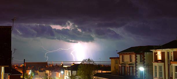 Lightning Storm Over Sandown Bay stock photo