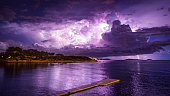 A huge lightning storms develops over the island of Ibiza.