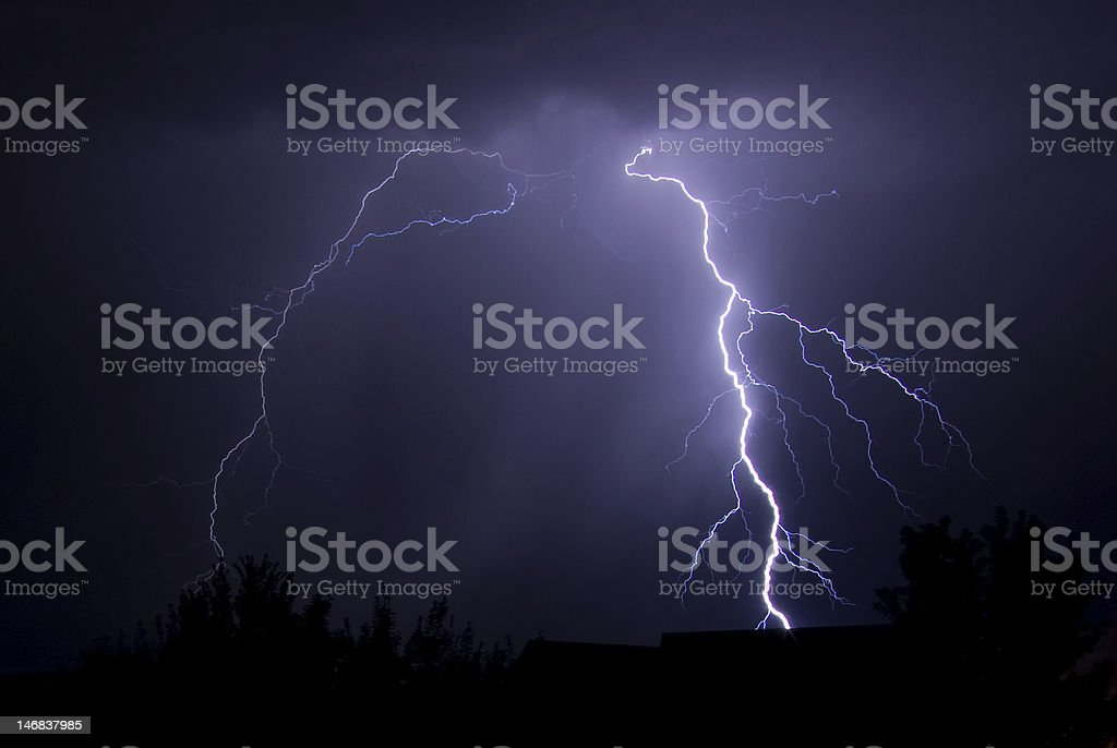 Lightning strike during a thunderstorm stock photo