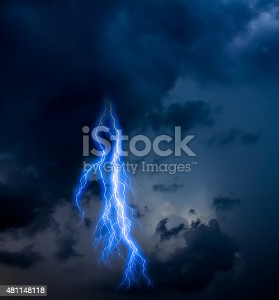 503731700 istock photo lightning strike during an electrical storm 481148118