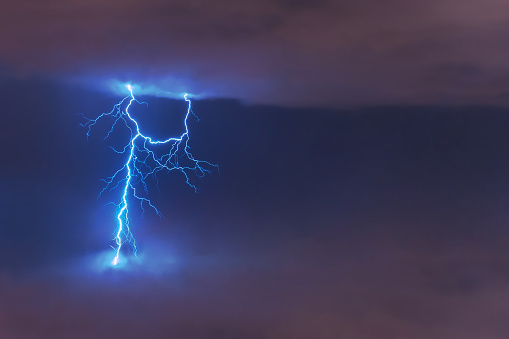 818455114f6fd Lightning Strike Flash Electric Discharge Between Clouds At Night ...