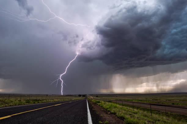 Lightning strike from a thunderstorm stock photo