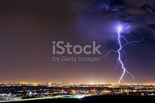 Lightning bolt strike from a thunderstorm over El Paso, Texas.