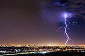 Lightning bolt strike from a thunderstorm over El Paso, Texas.