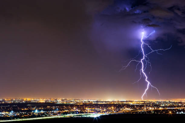 Lightning strike from a thunderstorm stock photo