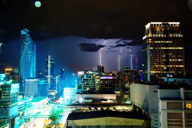 Lightning Strike in Bangkok, Thailand foto