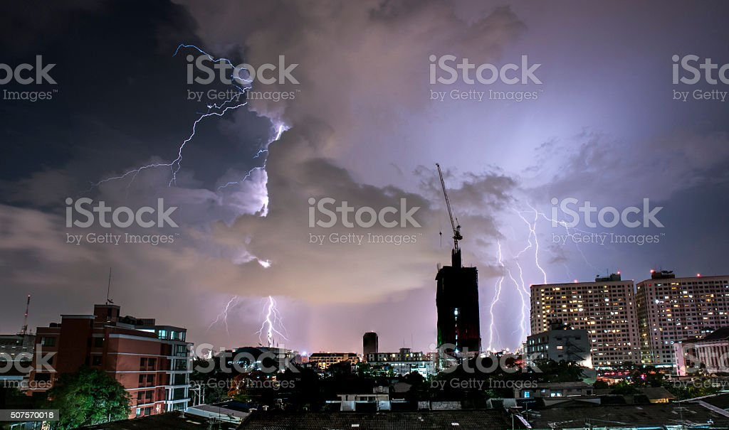 Lightning Strike In Bangkok, Thailand stock photo