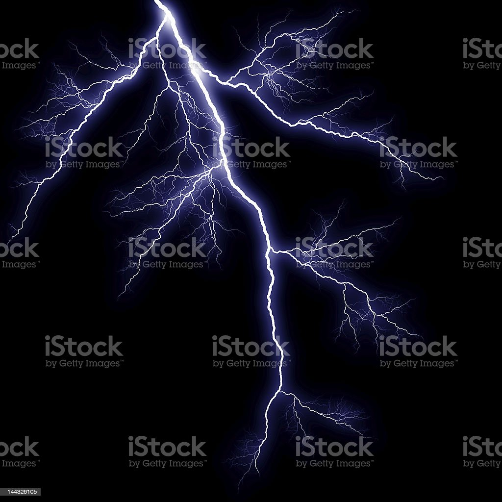 Lightning strike in dark stormy sky stock photo