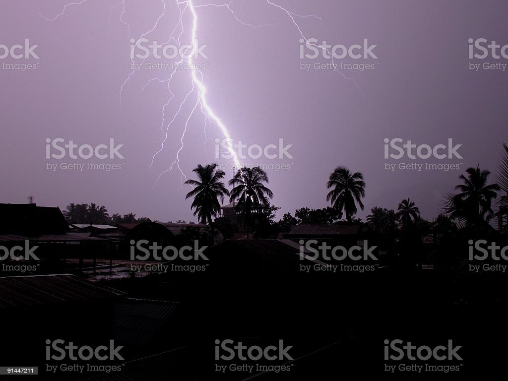 Lightning strike in Laos royalty-free stock photo