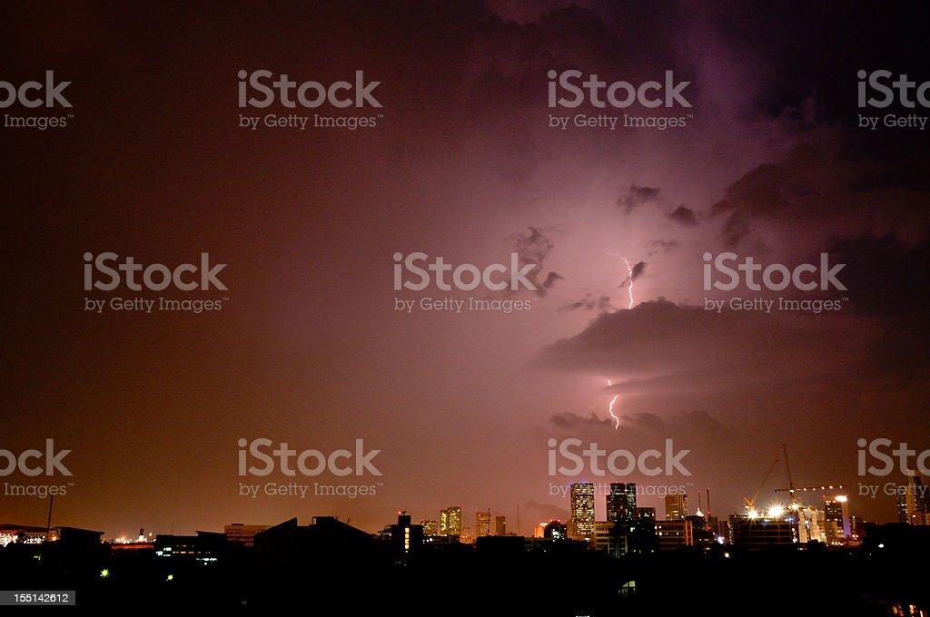 Lightning Strike In The City royalty-free stock photo