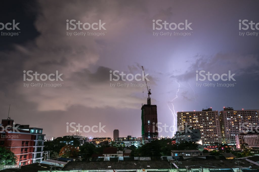 Lightning Strike In The City stock photo
