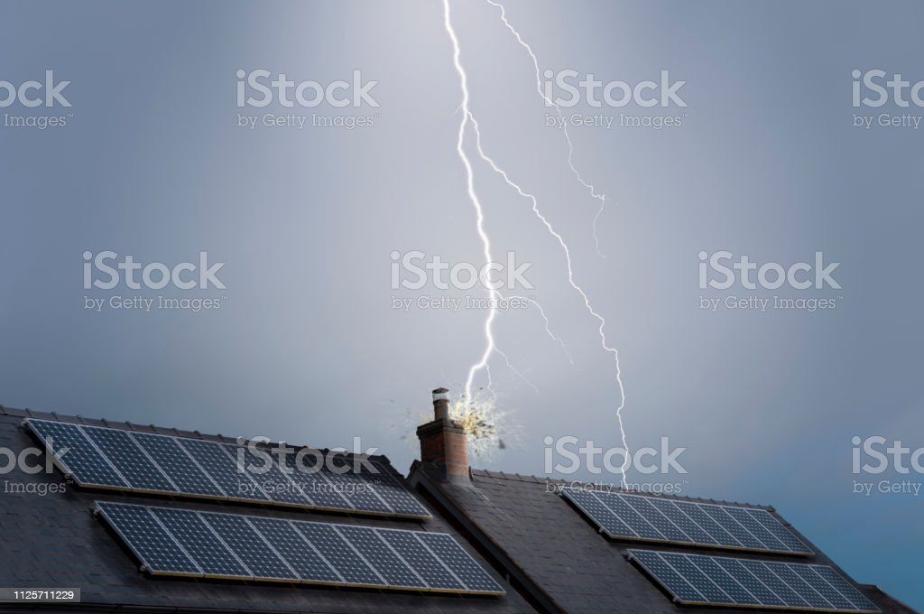 Lightning Strike On A House stock photo