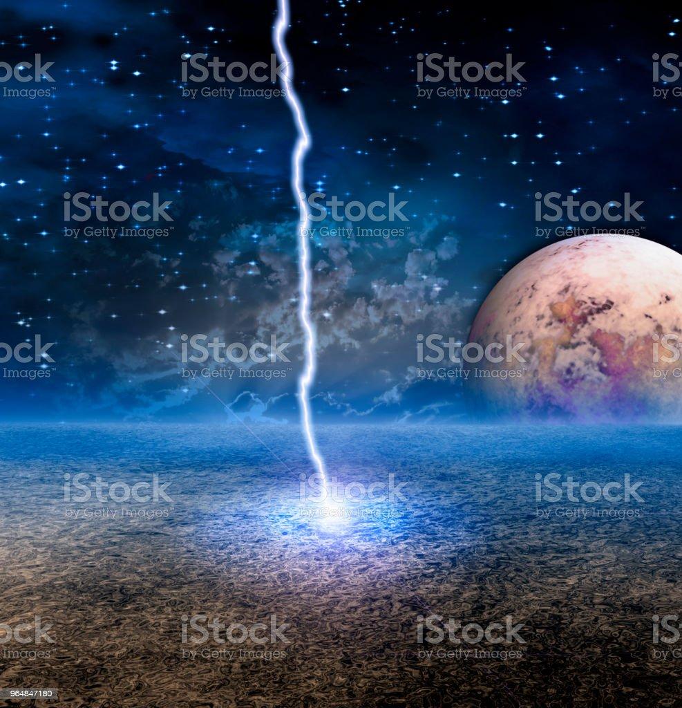 Lightning strike on moon royalty-free stock photo
