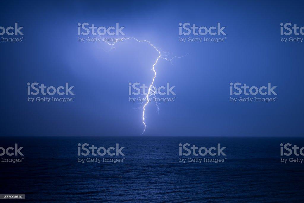 Lightning strike over Bournemouth beach stock photo