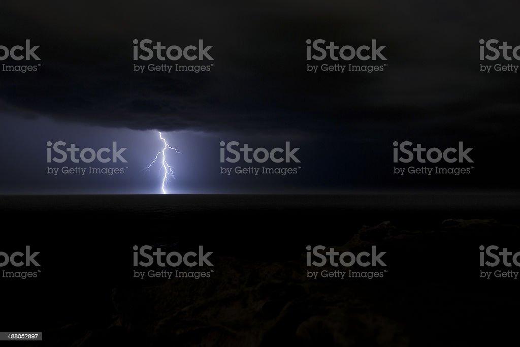 Lightning strike over the Tasman Sea, Australia stock photo