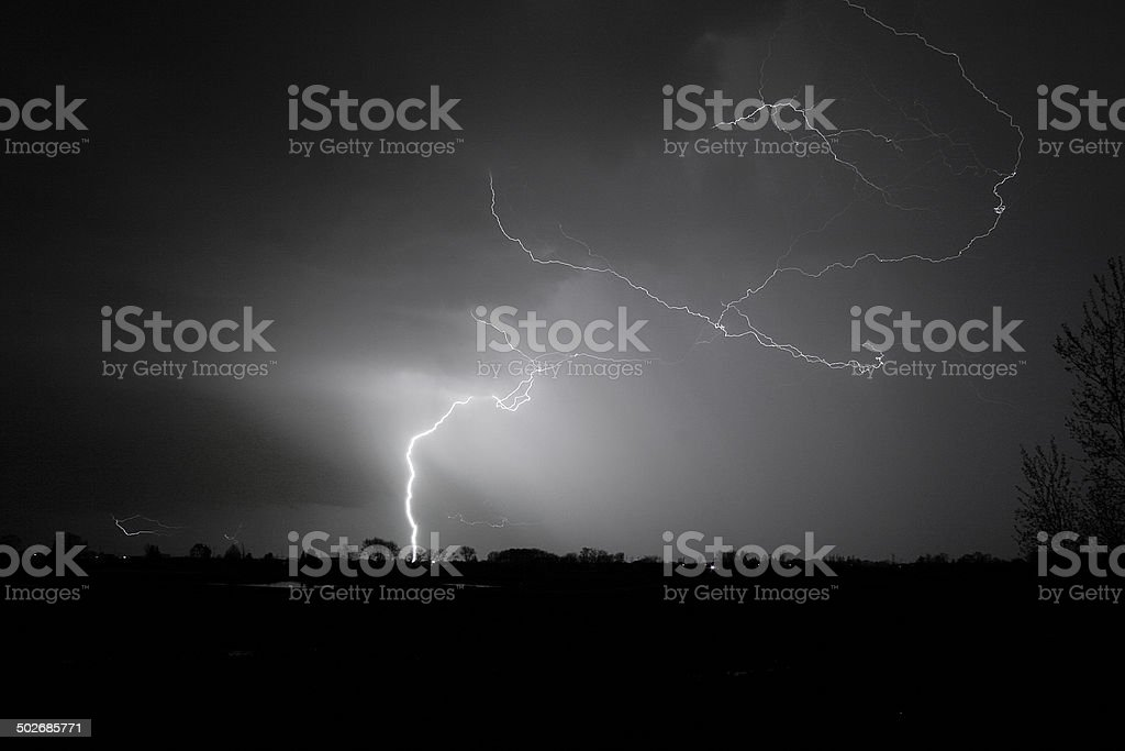 Lightning Strike With Tree line Silhouette (Black and White) stock photo