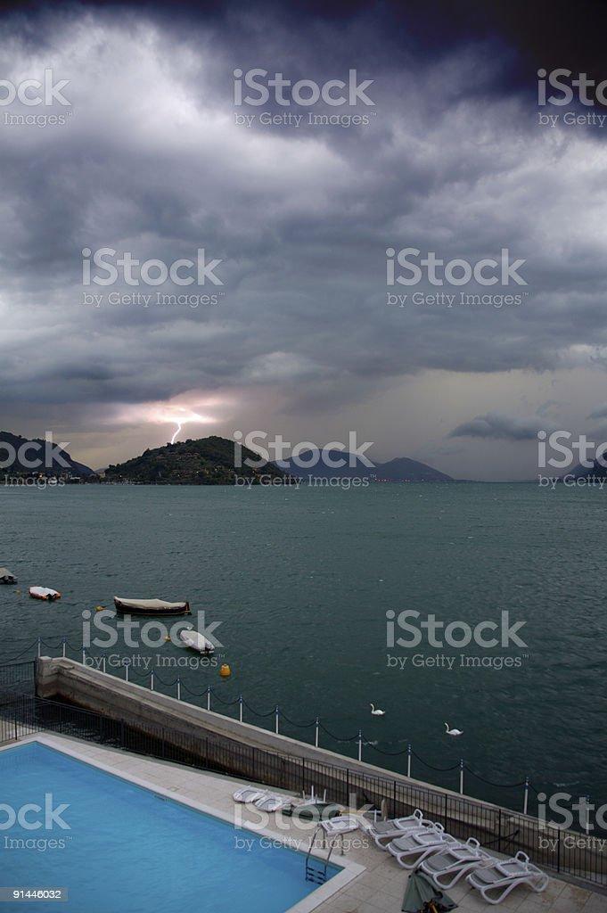 Lightning strikes, again! (intentionally dark and moody) royalty-free stock photo