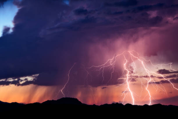 Lightning strikes from a monsoon thunderstorm stock photo