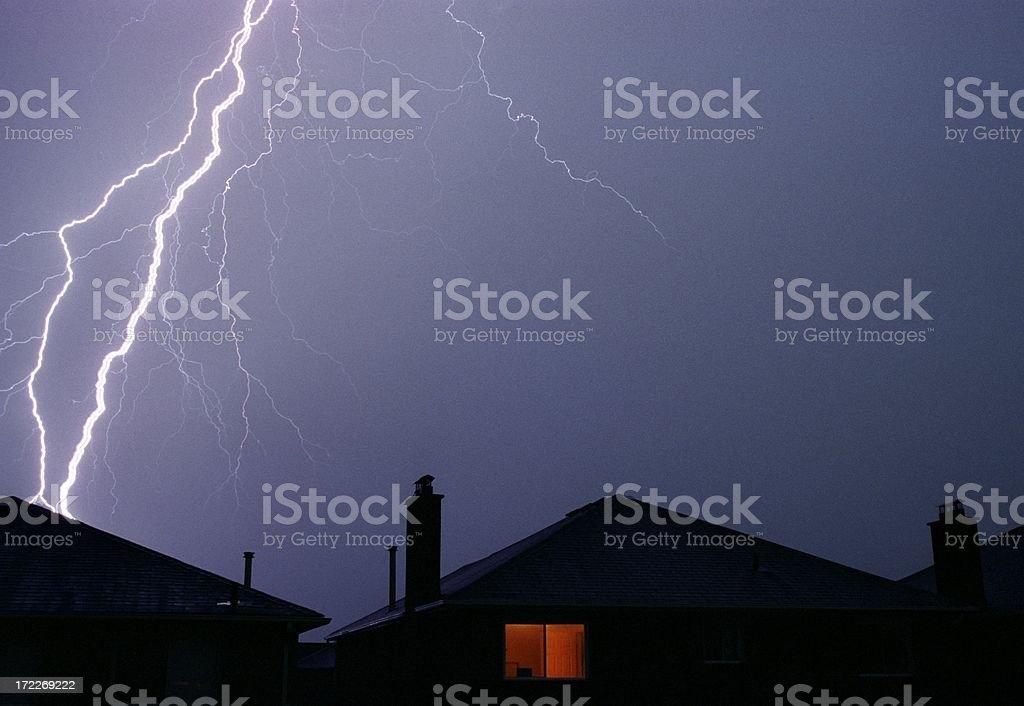 Lightning Strikes home royalty-free stock photo