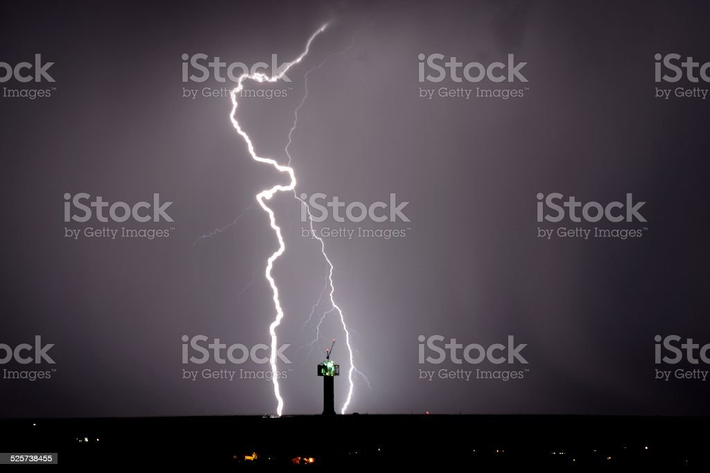 Lightning strikes near solar power installation in South Africa stock photo