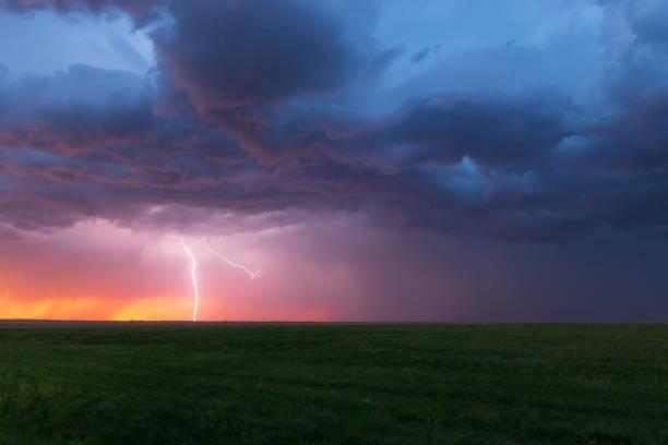 Lightning Strikes over the Colorado Plains stock photo