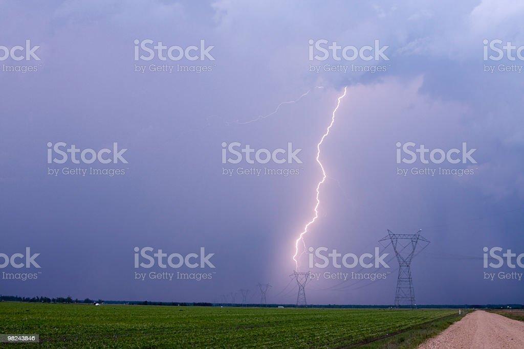 Lightning Striking High Tension Power Lines royalty-free stock photo