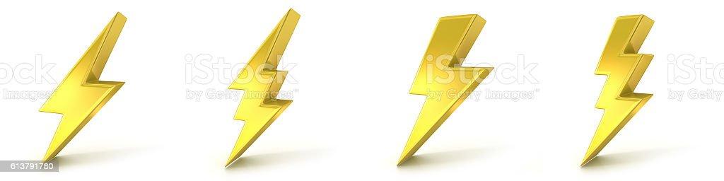 Lightning symbols, 3D golden signs stock photo