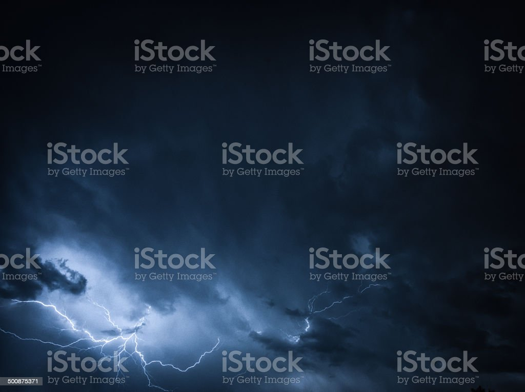 Lightning thunder bolt in dark thundercloud with copyspace royalty-free stock photo