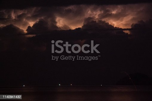 istock Lightning view by the shore during night time 1140941432