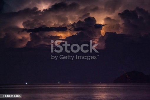 1155214300istockphoto Lightning view by the shore during night time 1140941464
